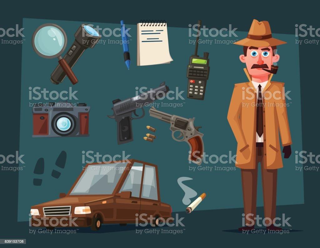 Personnage de détective drôle. Illustration de vecteur de dessin animé - clipart vectoriel de Adulte libre de droits