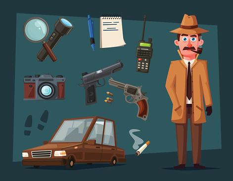 Personnage De Détective Drôle Illustration De Vecteur De Dessin Animé Vecteurs libres de droits et plus d'images vectorielles de Adulte