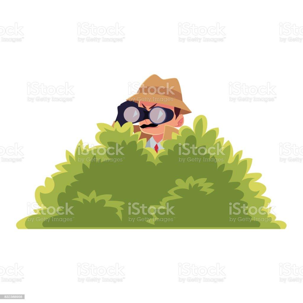 Funny detective character looking through binoculars from bush, surveillance work vector art illustration
