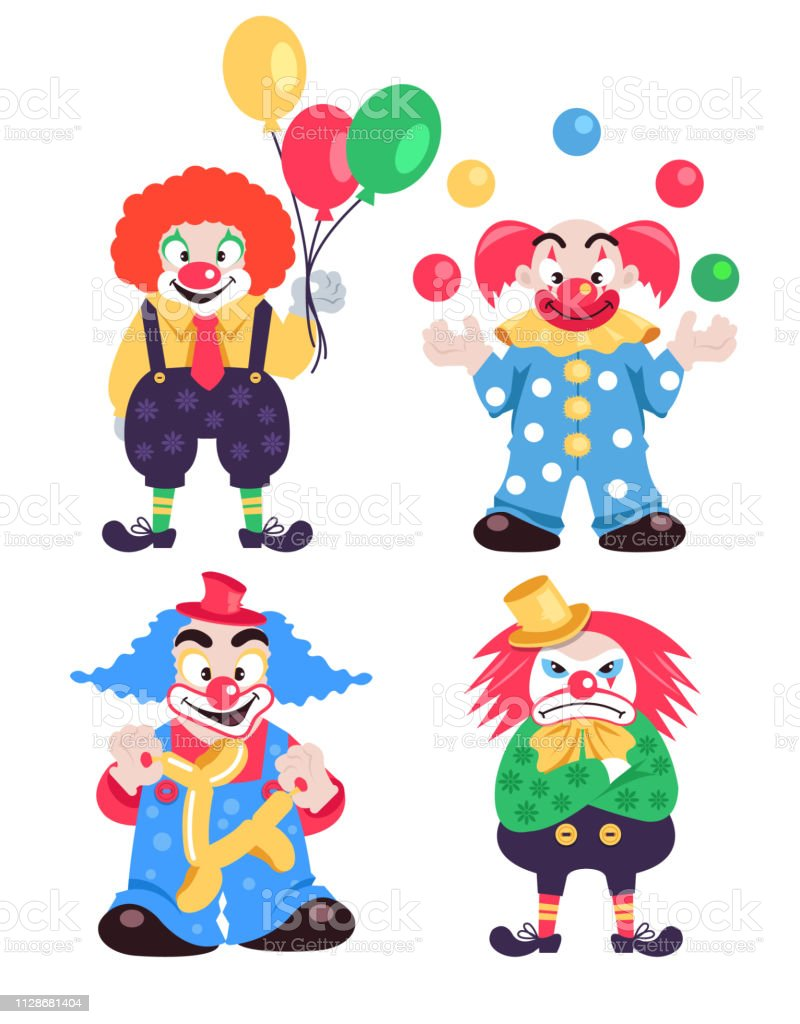 Funny different colorful clowns characters collections. Vector flat cartoon character isolated illustration set