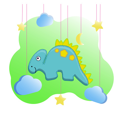 Funny dino print in the style of felt toys for the nursery. Funny stegosaurus with a yellow crest. Vector illustration of a dinosaur, moon, stars, clouds