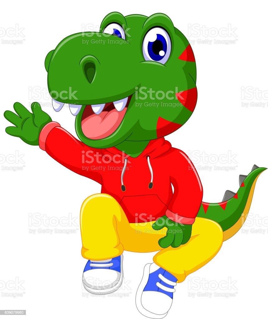 funny dinosaur cartoon waving vector art illustration