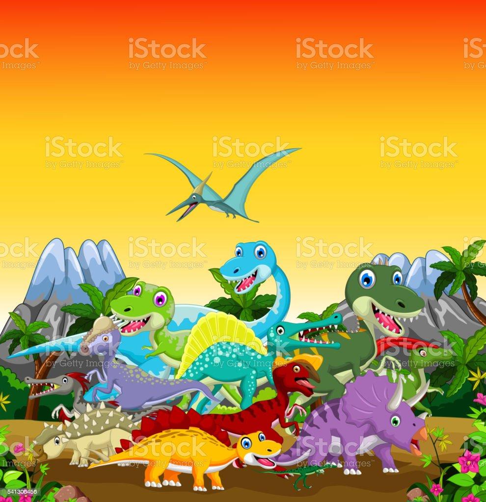 funny dinosaur cartoon with forest landscape background vector art illustration
