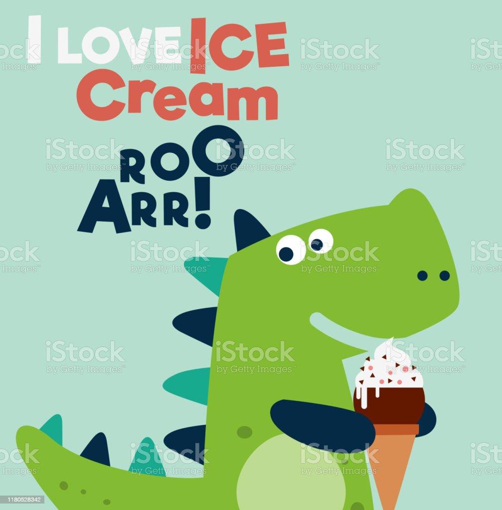 Lustige Illustration Eis Essende Tiere Poster 40x40 cm