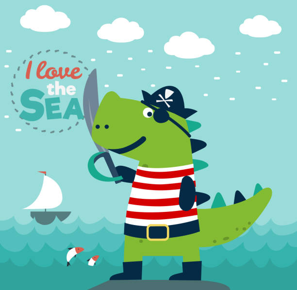 Funny dinosaur in pirate costume Funny dinosaur in pirate costume seyahat noktaları illustrationsları stock illustrations