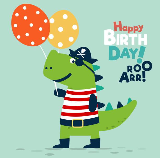 ilustrações, clipart, desenhos animados e ícones de dinossauro engraçado na fantasia de pirata com balões. ilustração do vetor de feliz aniversário - viagem de primeira classe