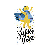 Funny dinosaur in superhero costume and mask. Super Dino lettering phrase. Cartoon superhero triumphs with cape waving in the wind. hand drawn cartoon print illustration