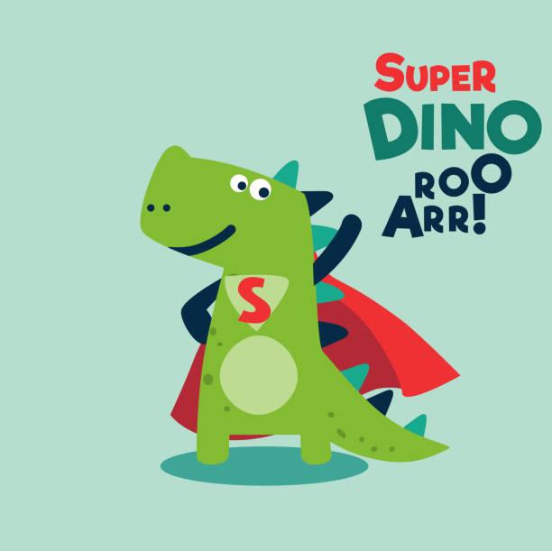 ilustrações de stock, clip art, desenhos animados e ícones de funny dinosaur in superhero costume. super dino. cartoon superhero standing with cape waving in the wind - baby super hero