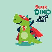 Funny dinosaur in superhero costume. Super Dino. Cartoon superhero standing with cape waving in the wind