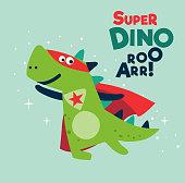 Funny dinosaur in superhero costume. Super Dino. Cartoon superhero flying with cape waving in the wind