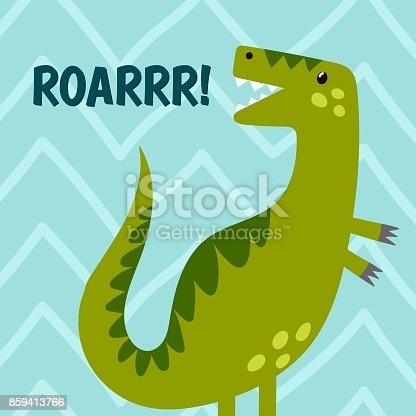 Funny dinosaur is roaring. Cute print