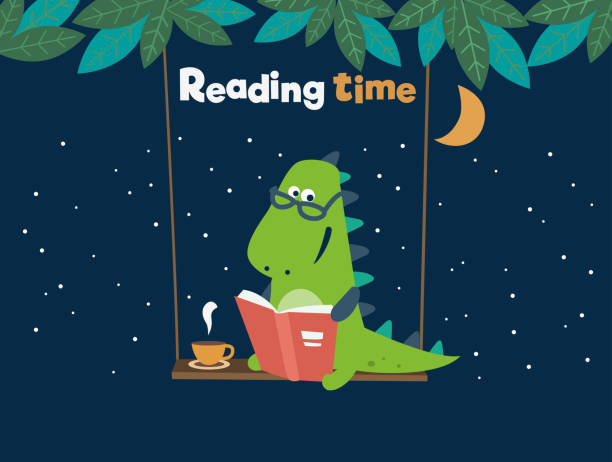stockillustraties, clipart, cartoons en iconen met funny dinosaurus leest een boek over swing - prentenboek