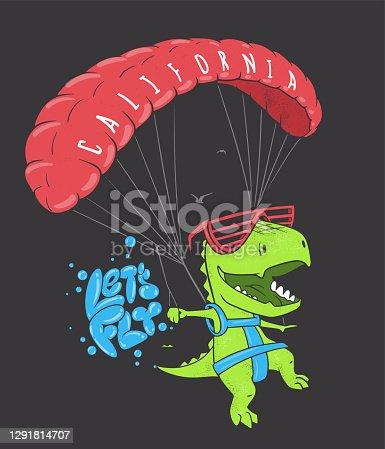 Funny dinosaur with paragliding. Vector shirt print design.