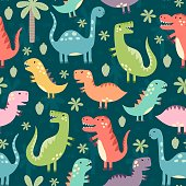 Funny dinosaurs seamless pattern. Great for textile, fabric, baby shower and birthday invitations. Vector illustration