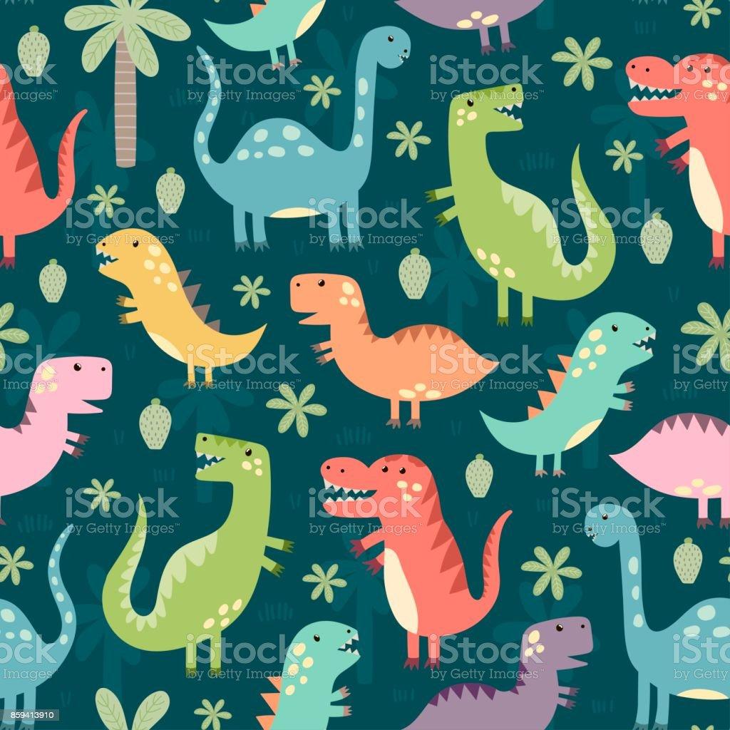 Padrão sem emenda de dinossauros engraçado - ilustração de arte em vetor