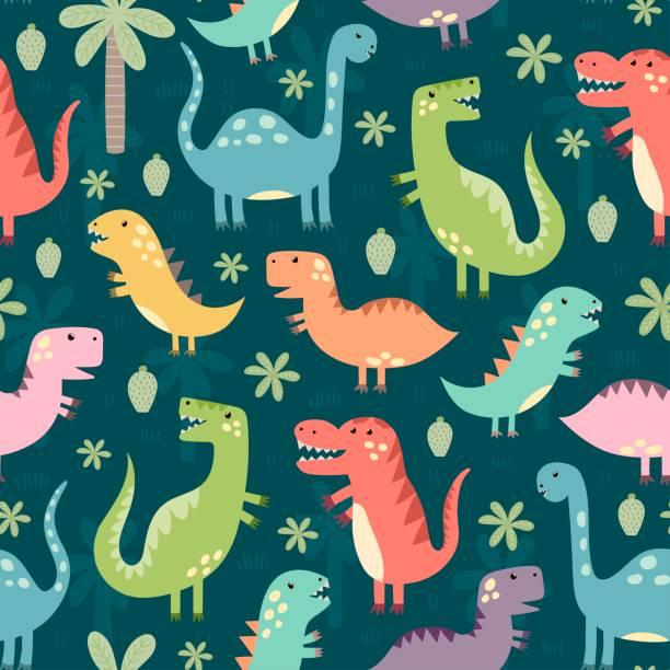 illustrations, cliparts, dessins animés et icônes de modèle sans couture de drôles de dinosaures - dinosaure