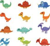 12 vector funny dinosaurs - apatosaurus, stegosaurus, triceratops, tyrannosaurus, corythosaurus, velociraptor, euoplocephalus, edaphosaurus, parasaurolophus, cearadactylus, dilophosaurus, ouranosaurus.