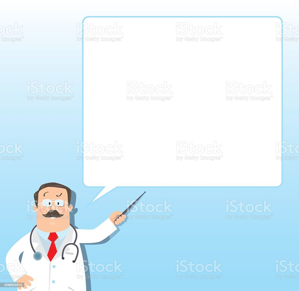 Funny doctor with pointer. Design template vector art illustration