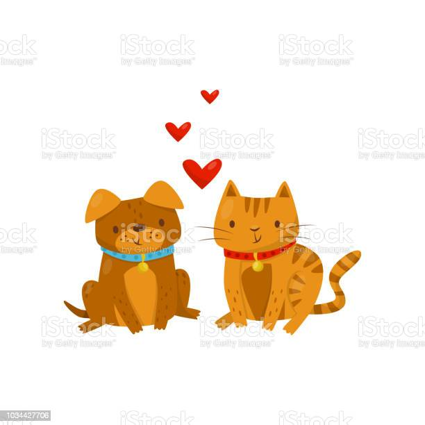 Funny dog and cat in love cute domestic pet animals cartoon best vector id1034427706?b=1&k=6&m=1034427706&s=612x612&h=lbpqwq79kakcet2miwblpwyeb7nwn2zfqeueidrwlgy=