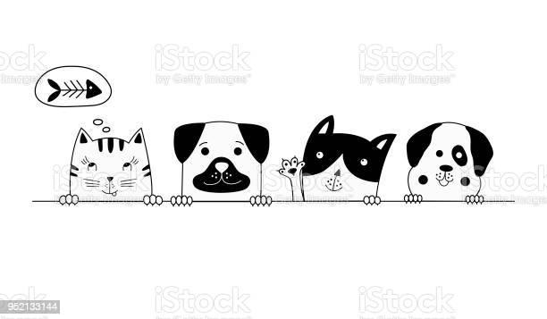 Funny dog and cute cat best friends vector illustration vector id952133144?b=1&k=6&m=952133144&s=612x612&h=ooc1 ls71qxtsuqmb vpn1msrh48p45mijr1tlx0neg=