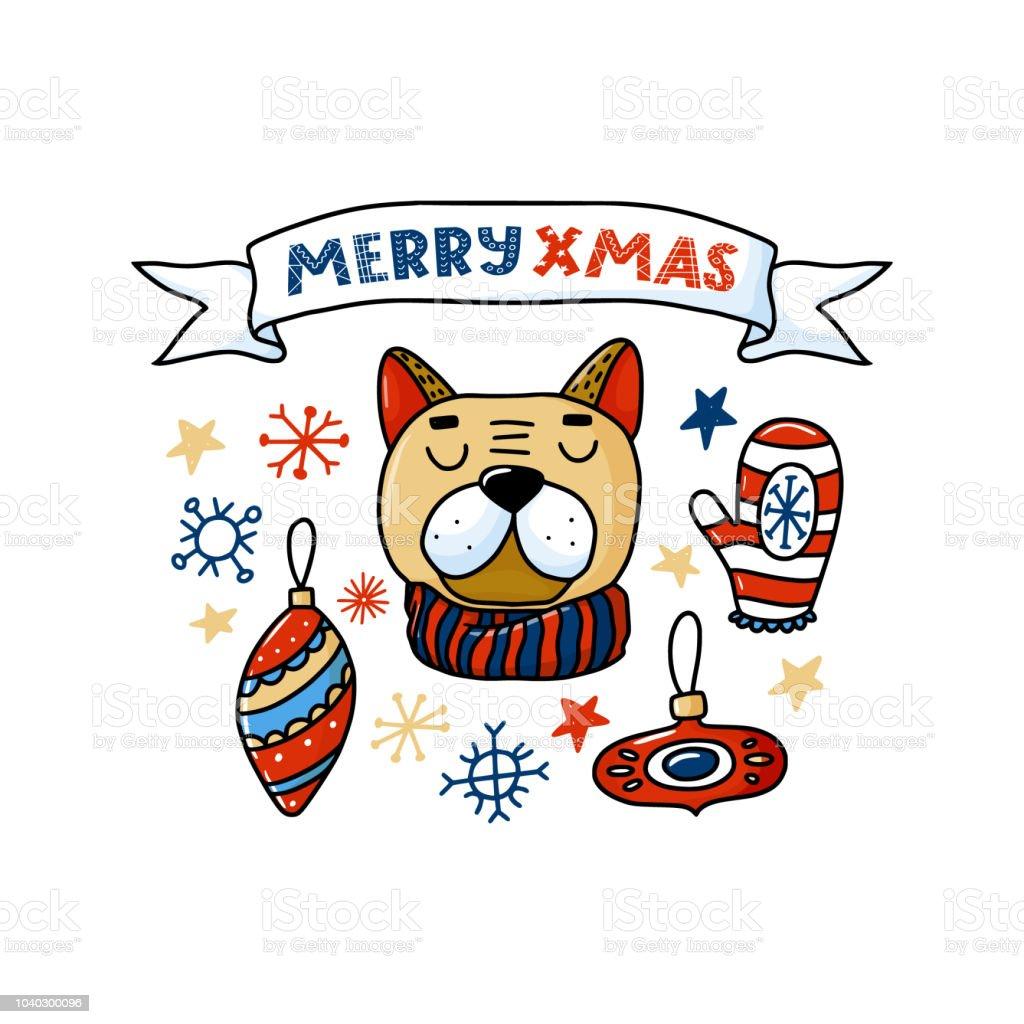 Frohe Weihnachten Band.Lustiger Hund Und Frohe Weihnachten Text Auf Band Karte Stock Vektor