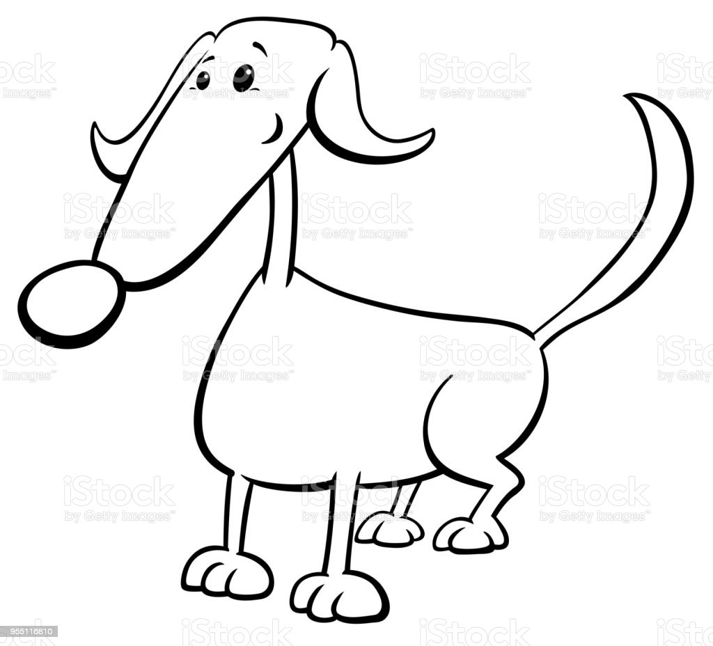 Funny Dog Cartoon Character Color Book Stock Vector Art & More ...