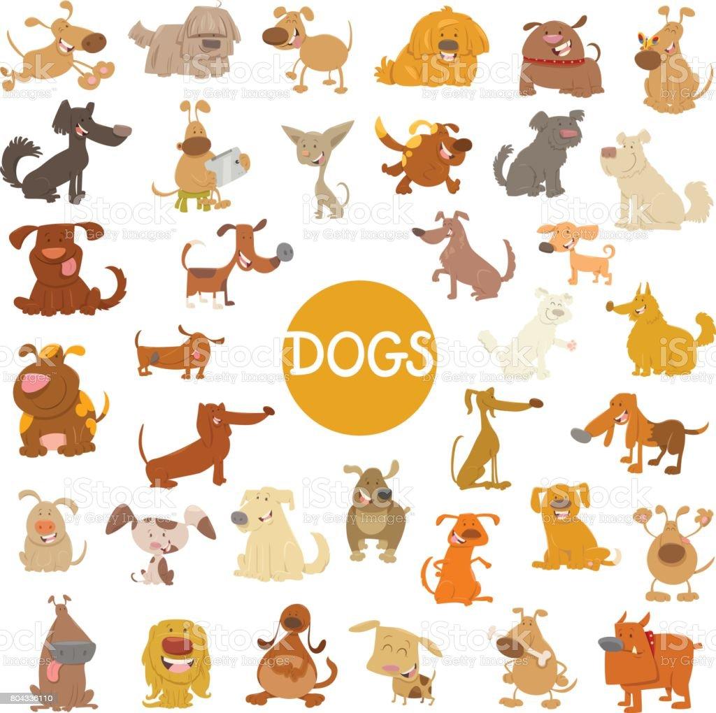 funny dog characters big set vector art illustration