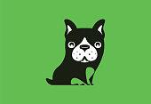 vector illustration of funny french bulldog sitting