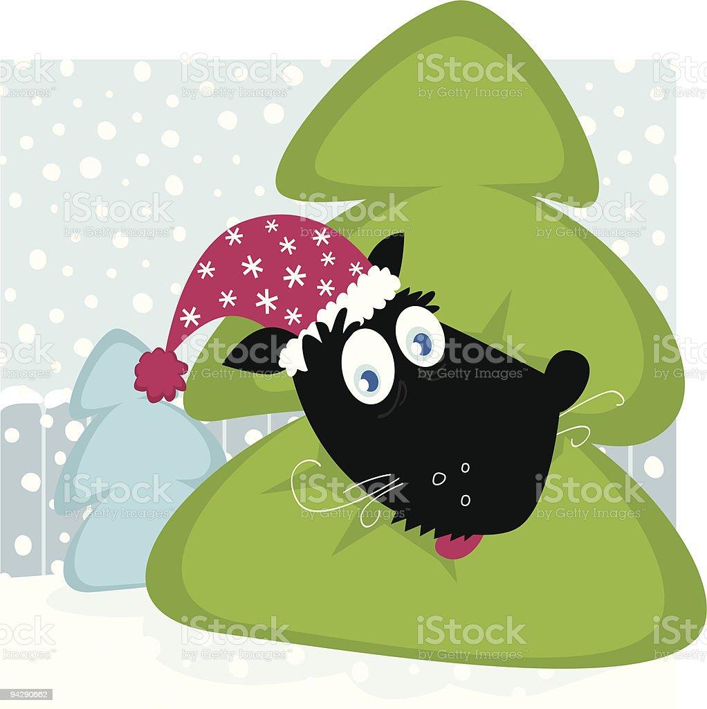Funny dog inside christmas tree royalty-free stock vector art