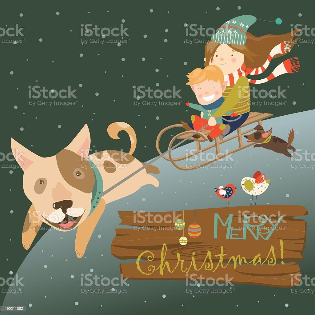 Funny dog pulling sledge with children vector art illustration