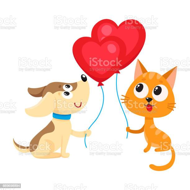 Funny dog puppy and cat kitten holding heart shaped balloon vector id669698894?b=1&k=6&m=669698894&s=612x612&h=iu3fdjfuwj1py7rngmcgbh s6duxa4 1in8s  sdtc0=