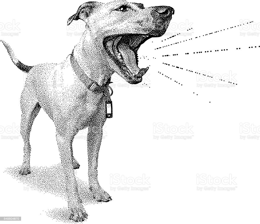 Funny dog shouting announcement vector art illustration