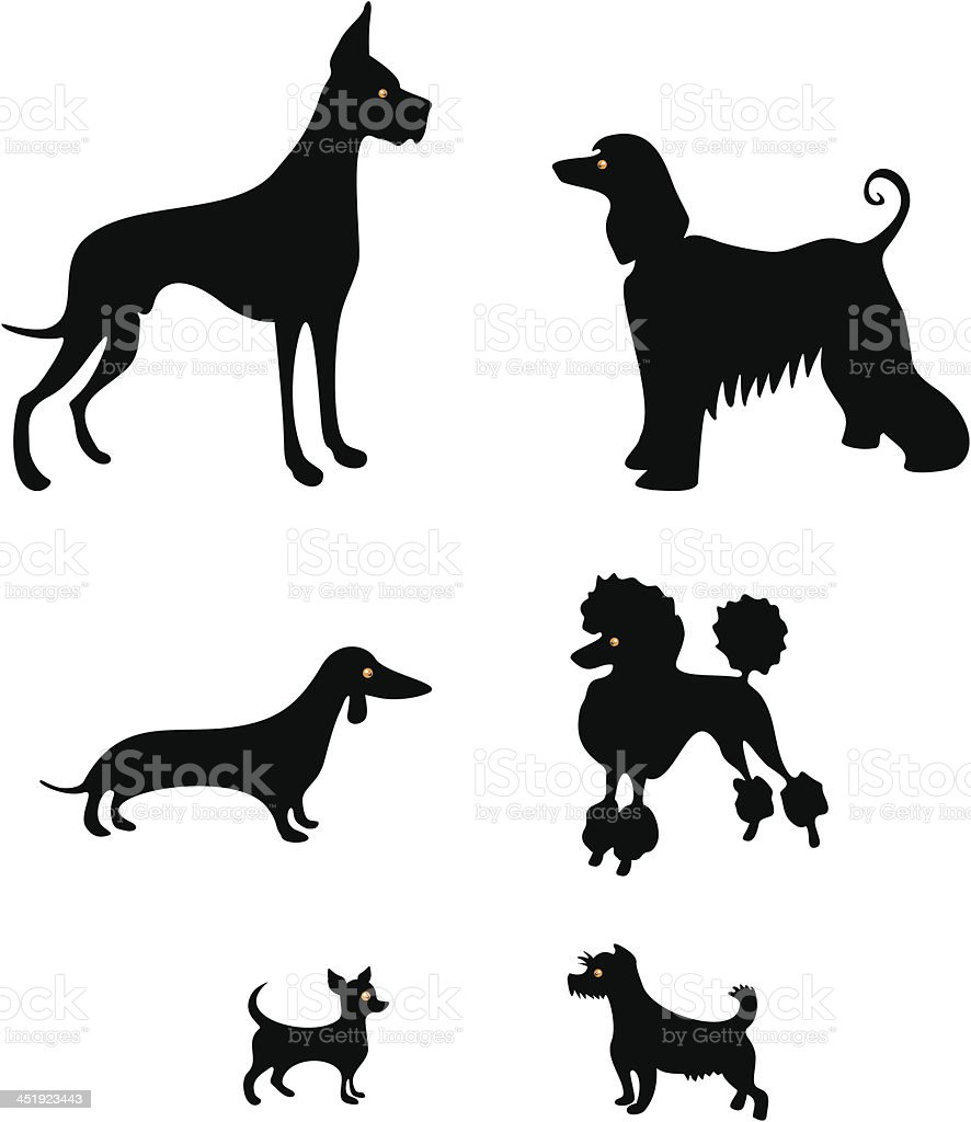 Funny dog silhouettes vector art illustration
