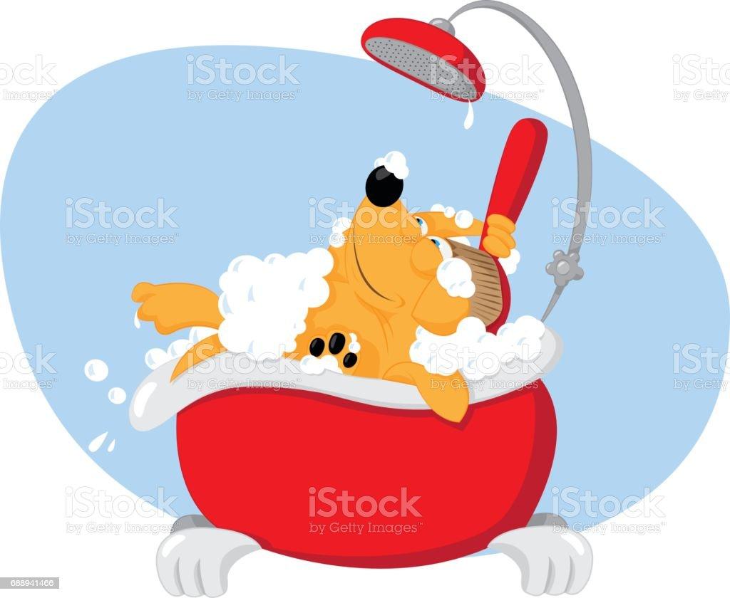 Funny dog taking a bath - pet grooming vector art illustration