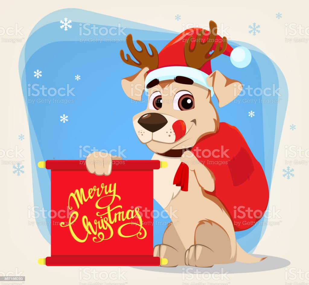 Funny Dog Wearing Santa Claus Hat And Deer Antlers And Holding
