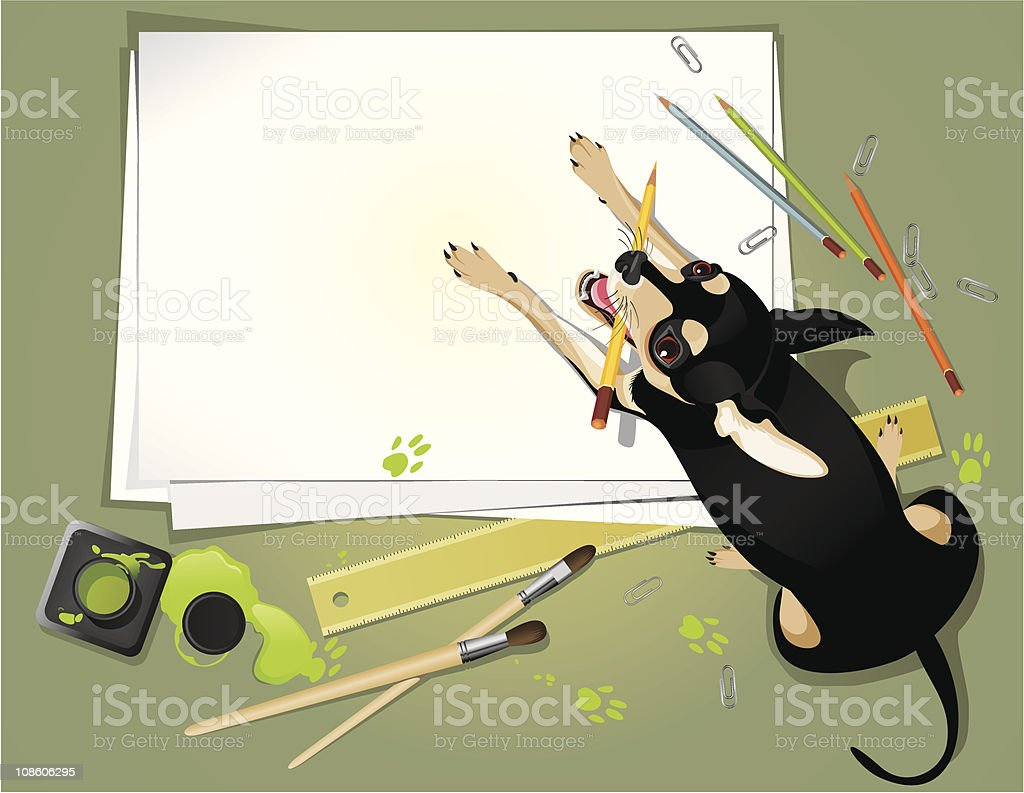 Funny dog with a pen. royalty-free stock vector art