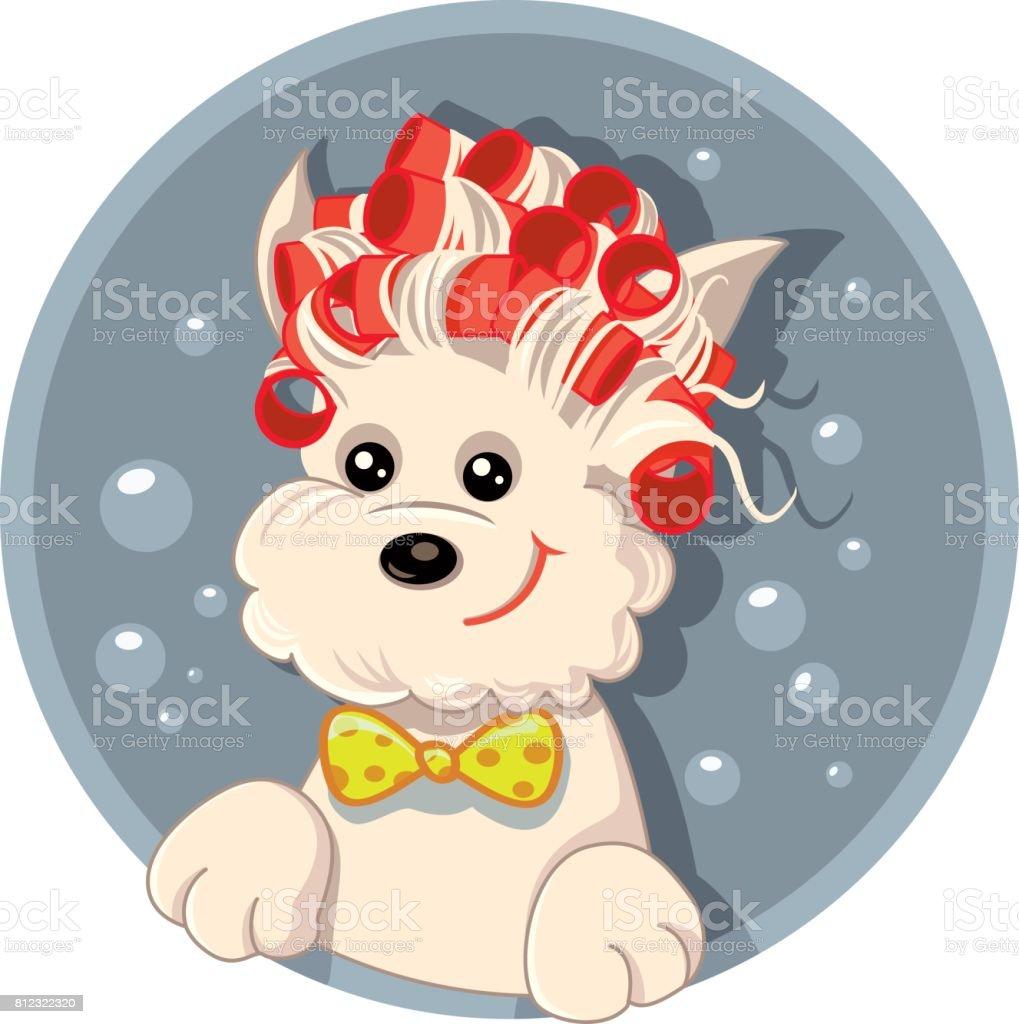 Funny Dog with Hair Rollers Pet Salon Vector Cartoon vector art illustration
