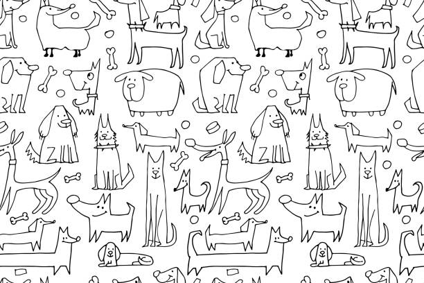 funny dogs collection, seamless pattern for your design - 犬点のイラスト素材/クリップアート素材/マンガ素材/アイコン素材