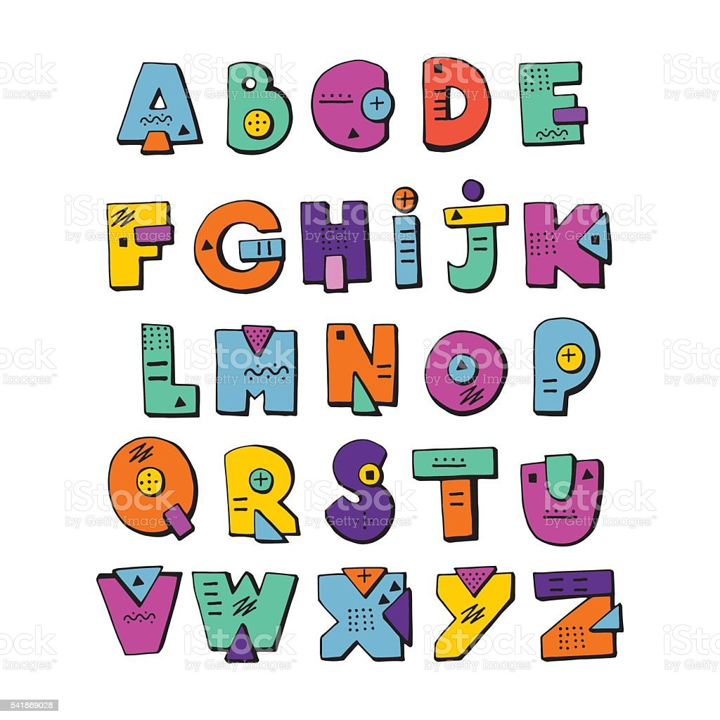 funny doodle alphabet colorful creative design letters abc royalty free funny doodle