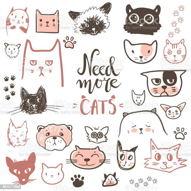 Funny doodle cat icons collection hand drawn pet kid drawn des vector id904471888?b=1&k=6&m=904471888&s=612x612&h=jnoiiuc7hwpca1mjaji4twwldemzgtlsf qzrwxoqze=