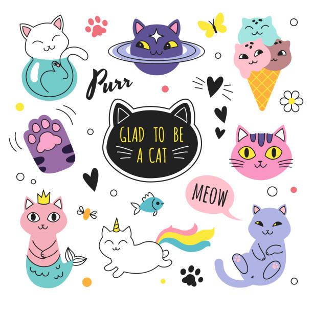 bildbanksillustrationer, clip art samt tecknat material och ikoner med rolig doodle katter samling. - animal doodle