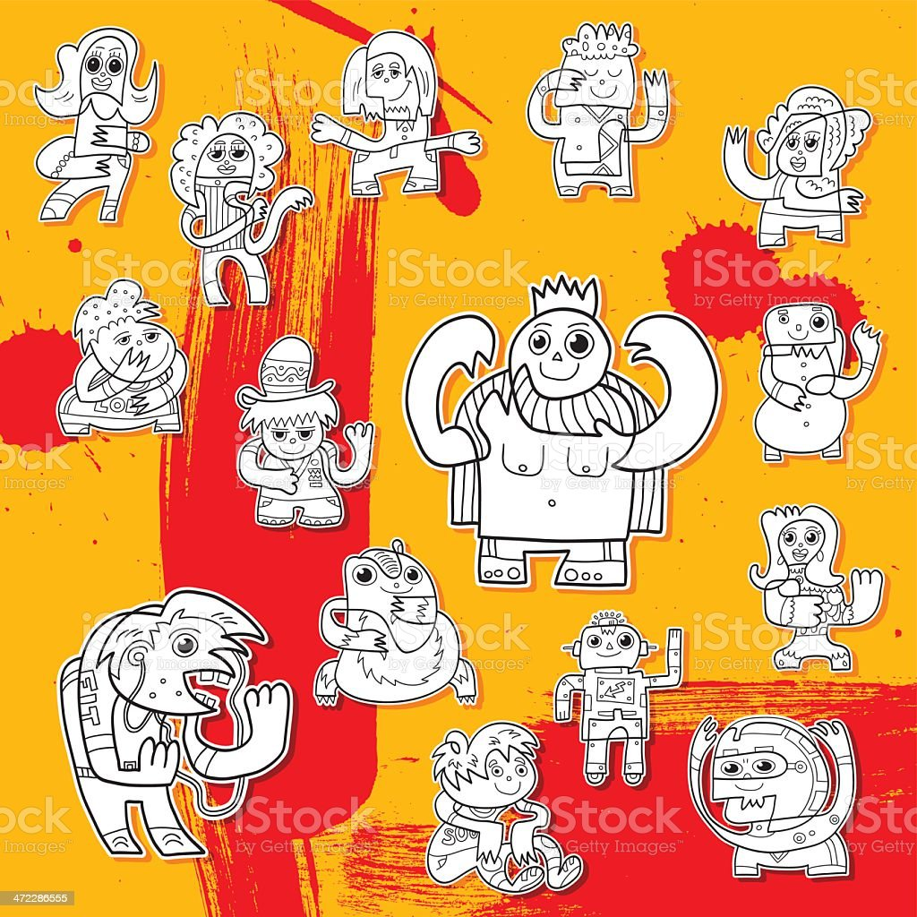Funny Doodle Character Collection vector art illustration