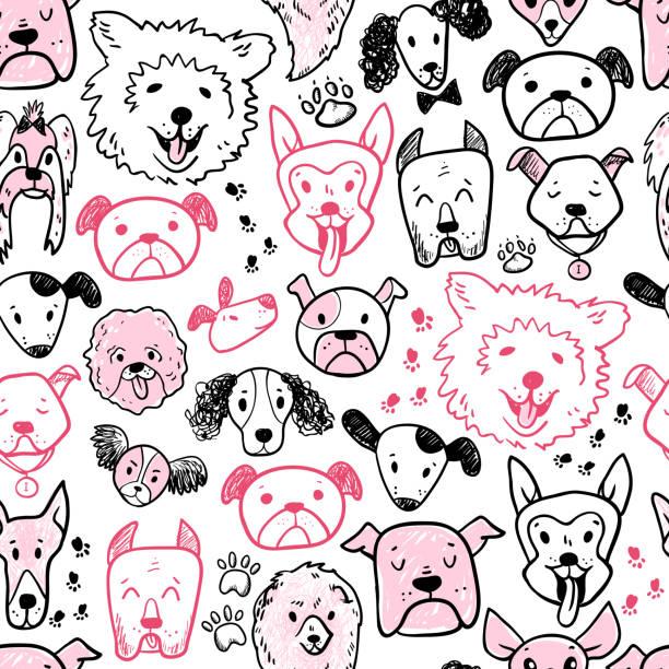 Drôle de doodle motif sans soudure de chien icônes. Dessiné de main dra pour animaux de compagnie, enfant - Illustration vectorielle