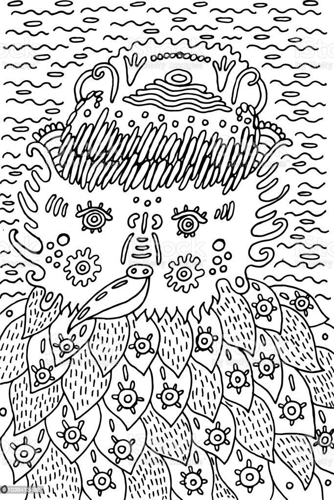 Ilustración De Divertido Doodle Pájaro Fantástico Libro Para