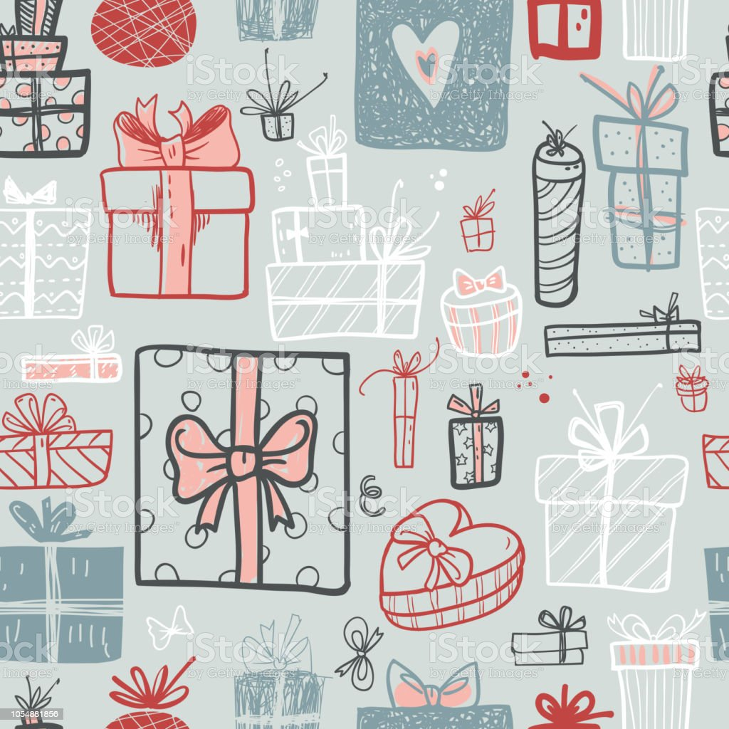 Funny doodle gift boxes holiday seamless pattern. Hand kids draw - Illustration .  sc 1 st  iStock & Funny Doodle Gift Boxes Holiday Seamless Pattern Hand Kids Draw ...