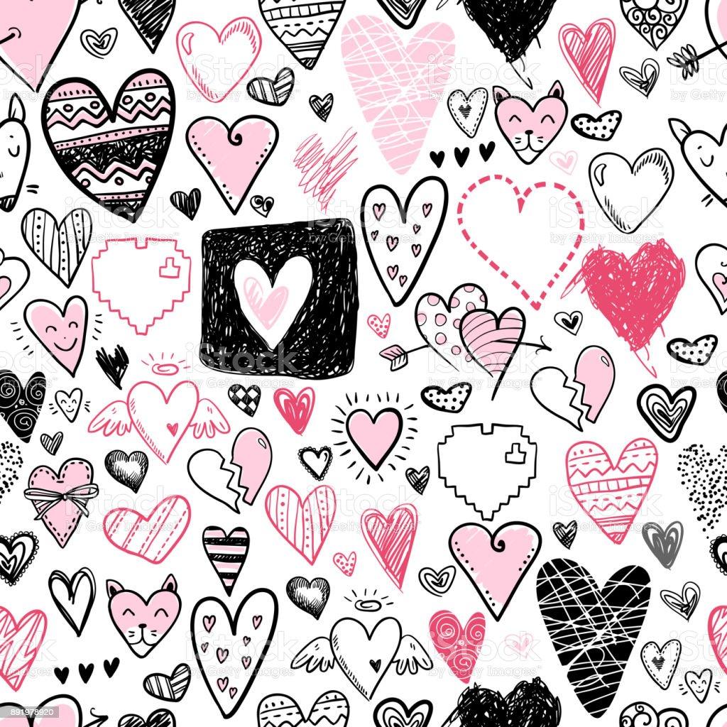 Divertido Doodle Corazón Iconos De Patrones Sin Fisuras Mano ...
