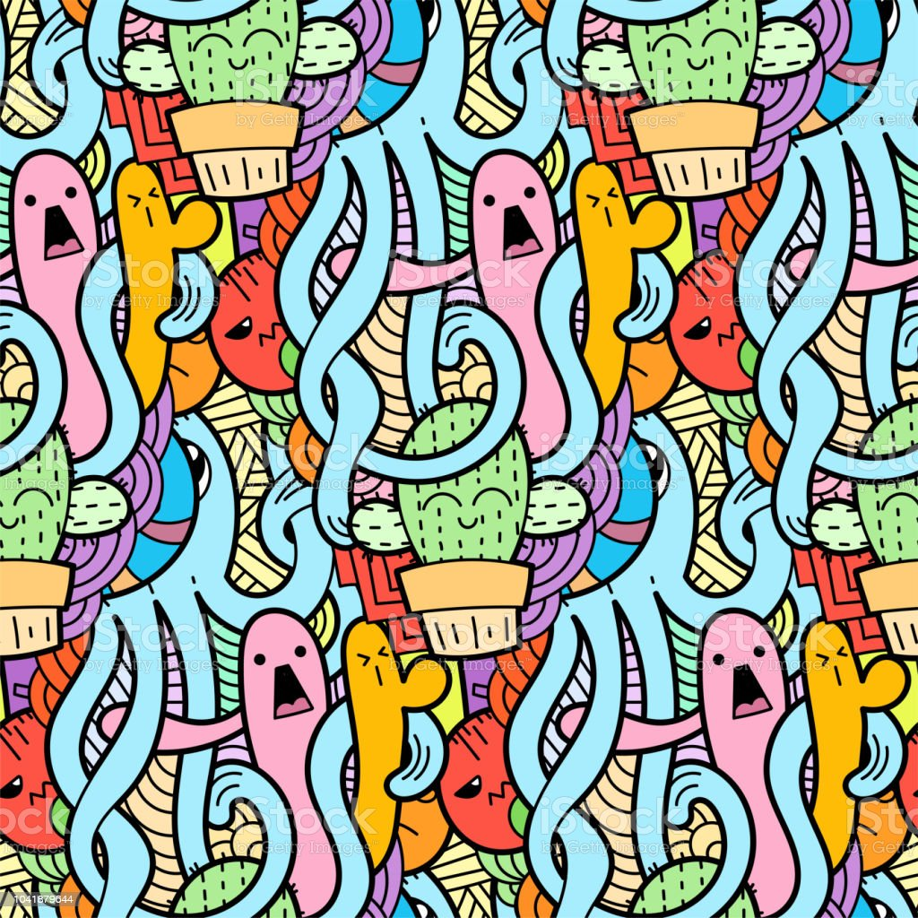 Funny Doodle Monsters Seamless Pattern For Prints Designs And Coloring  Books Stock Illustration - Download Image Now