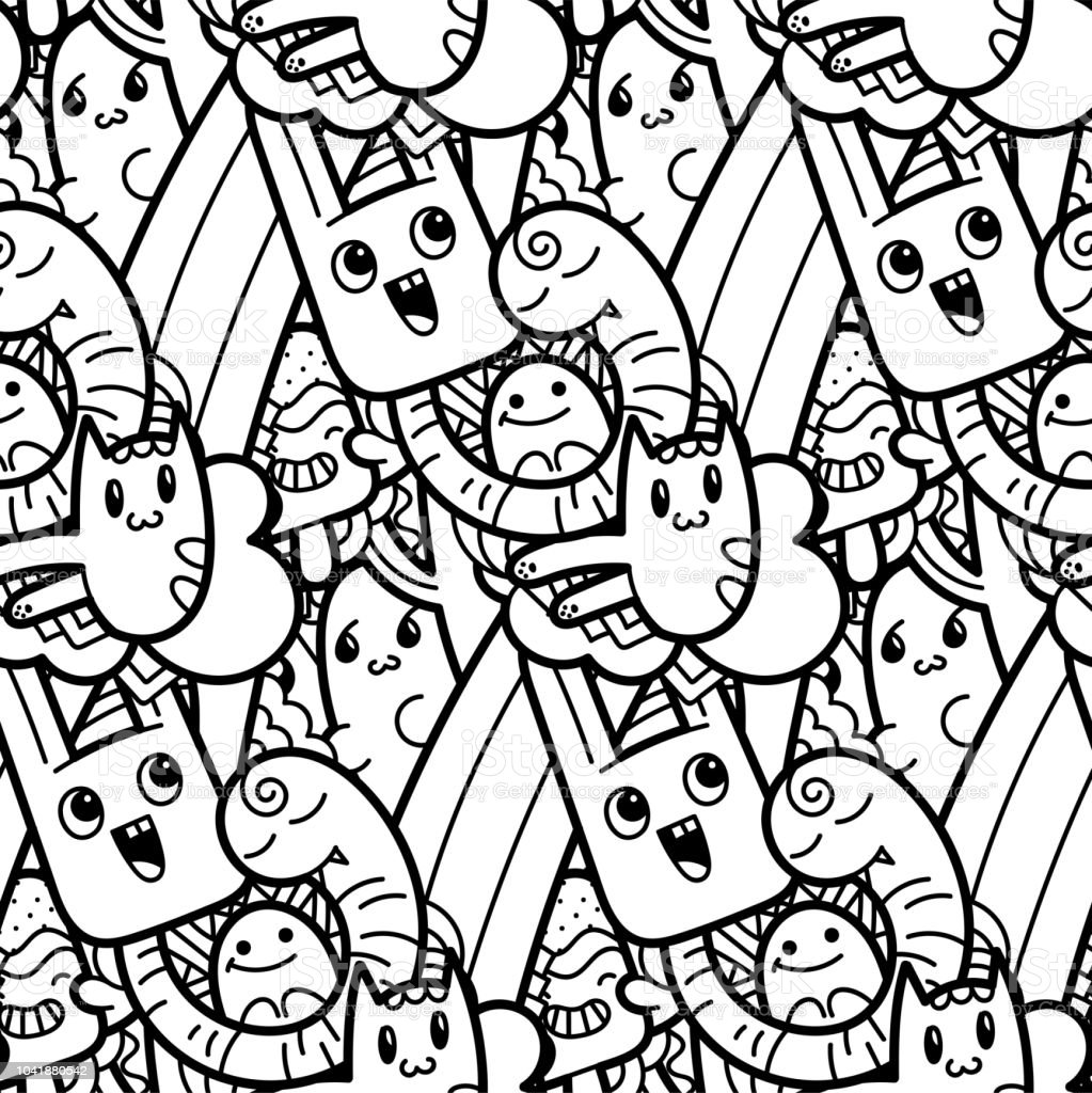 Funny Doodle Monsters Seamless Pattern For Prints Designs And ...