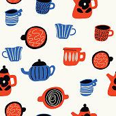 Funny doodle pattern with cups and teapots in scandinavian style. Vector seamless design