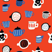 Funny doodle pattern with cups and teapots in scandinavian style. Vector seamless design. Red background